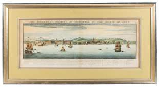 Hand-colored view of Greenwich, 1739