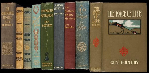 16: 12 novels by Guy Boothby mostly first editions