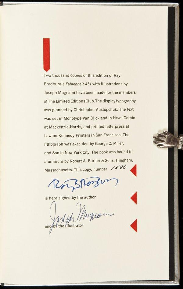17: Ray Bradbury's Fahrenheit 451 signed LEC edition