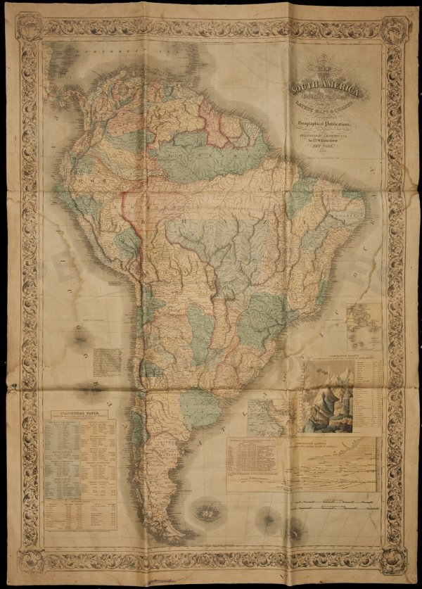 13: Colton Wall Map of South America 1857