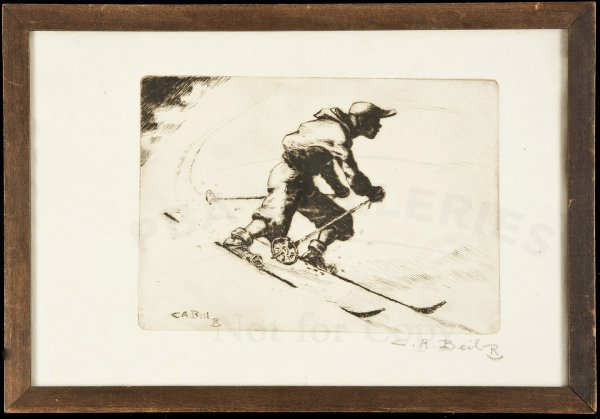 19: Orig copper etching of a skier sgnd C.A. Beil