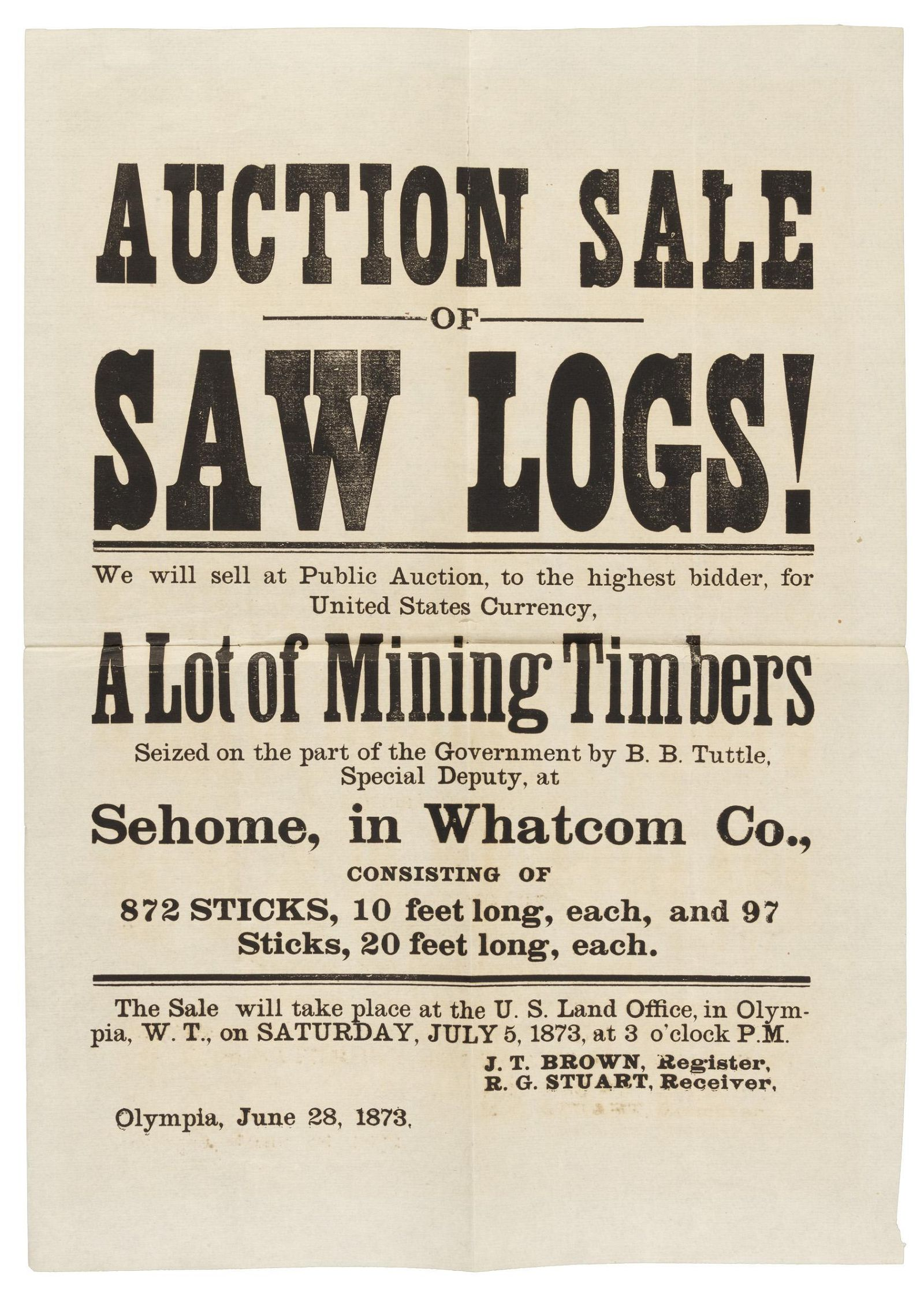 Sale of timber seized from miscreant loggers 1873