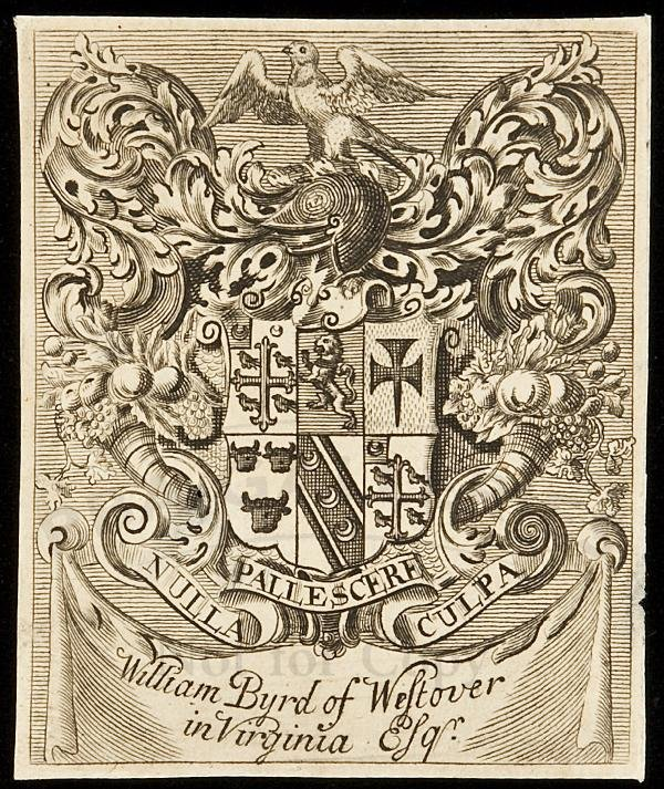 7: Bookplate for William Byrd Westover in Virginia