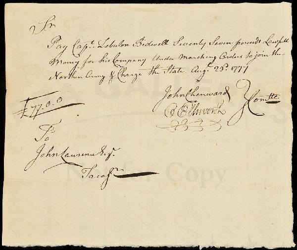 14: Document signed by Oliver Ellsworth 1777