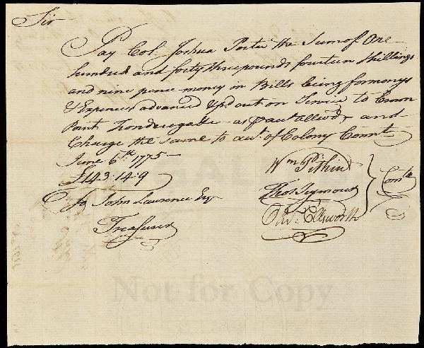 17: Payment for capture of Fort Ticonderoga 1775