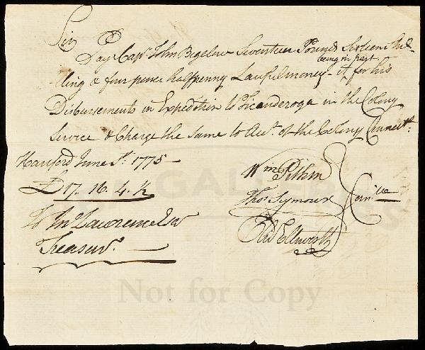 18: Pay Vouchers for Ticonderoga Expedition 1775