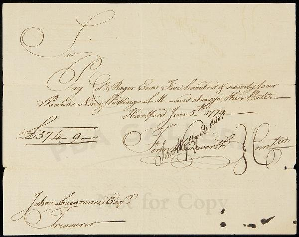 23: Pay voucher to Col. Rogers Enos 1779