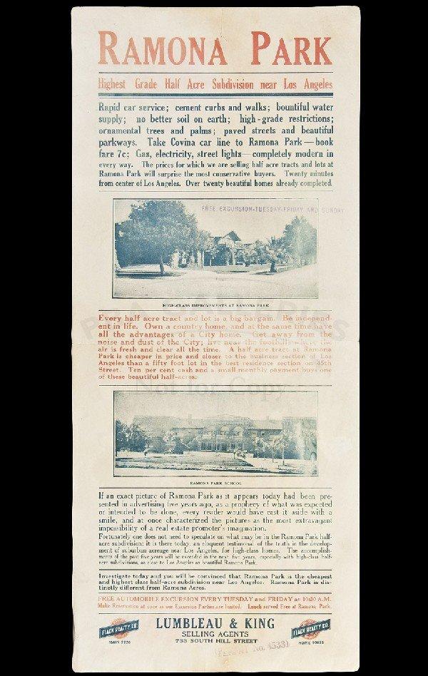 66: Ramona Park, CA real estate broadside, c. 1915