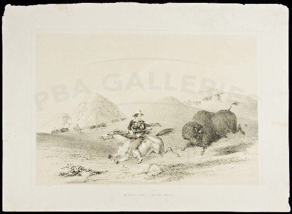 75: George Catlin lithograph of buffalo hunt