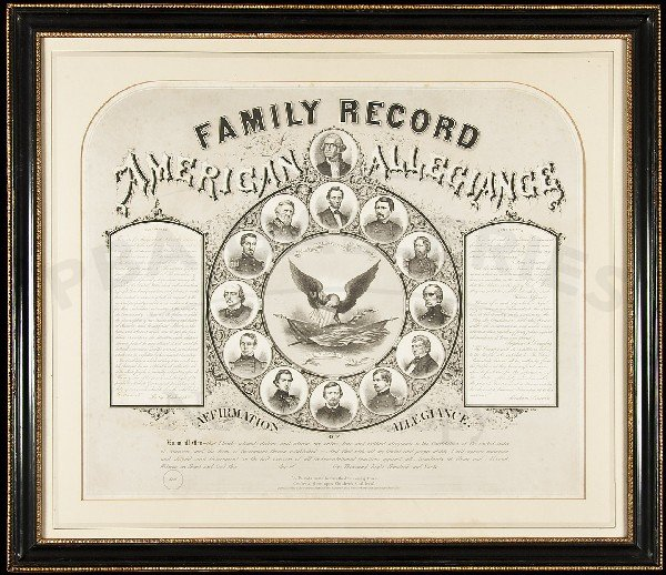 82: Family Record of American Allegiance Prang Litho