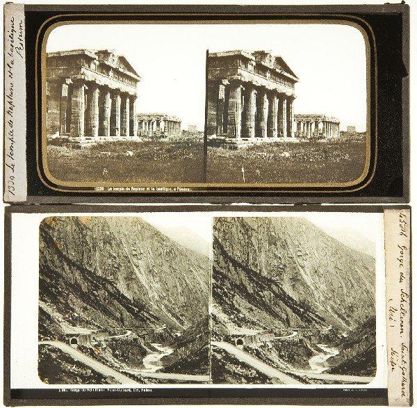 249: 21 stereoscopic glass slides of European views