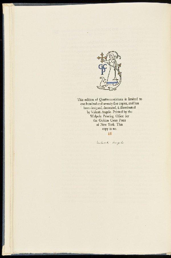 9: Valenti Angelo, Quattrocentisteria, 1/175 Sgd.