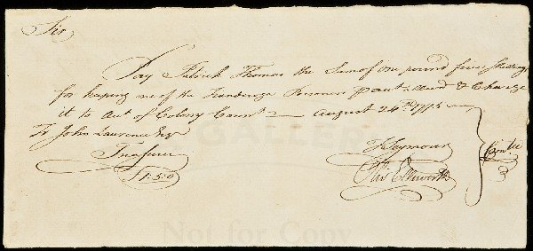 10: Payment for Fort Ticonderoga Prisoner 1775