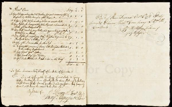 18: Revolutionary War secretary accounting 1778