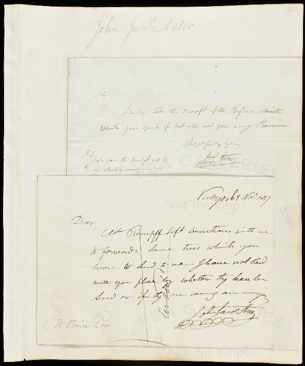 23: Two Autograph Letters Signed by John Jacob Astor