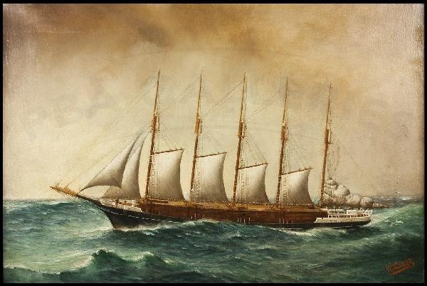 198: W. Edgar painting of schooner George H. Billings