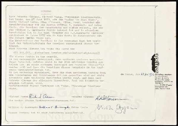 19: Sgnd contract for sale of Burroughs' archive 1973