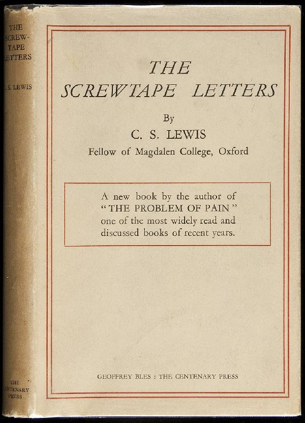 an analysis of cs lewis the screwtape letters The screwtape letters helped solidify lewis as one of the most renowned writers of his time the beloved masterpiece still sells about 150,000 copies every the screwtape letters were originally released as a weekly series in an anglican periodical, the guardian, between may 2, 1941 and nov.