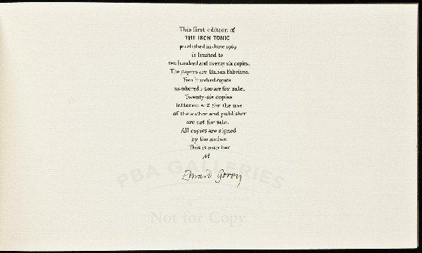395: Iron Tonic by Edward Gorey 1/26 signed