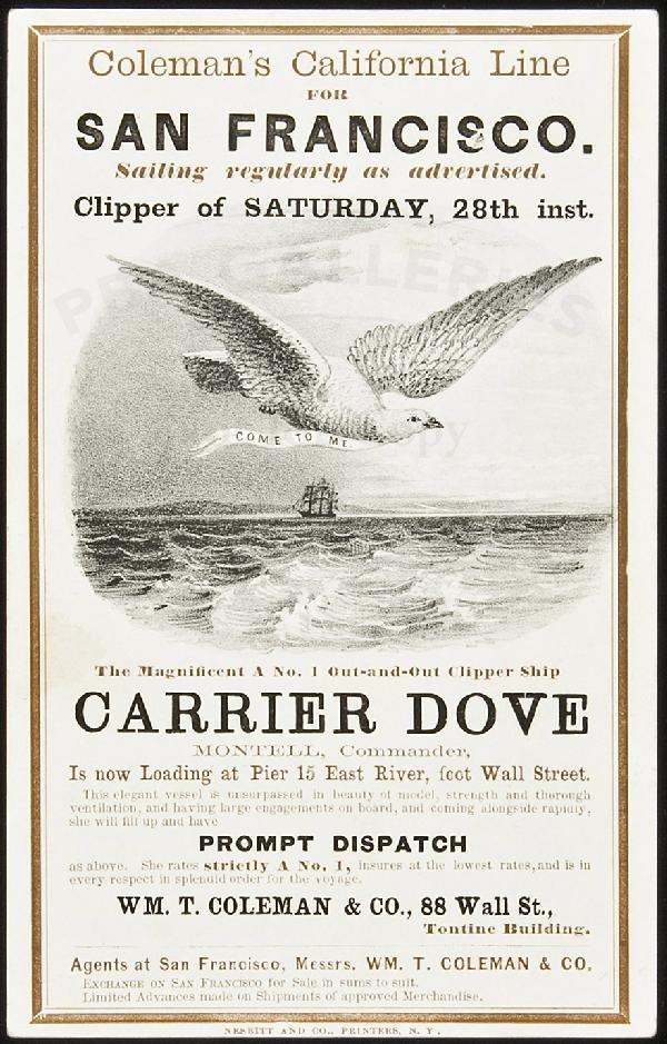 250: Clipper Ship Card for Carrier Dove by Nesbitt
