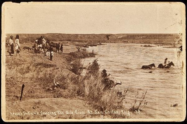 355: Photo of Apache Indians crossing Gila River