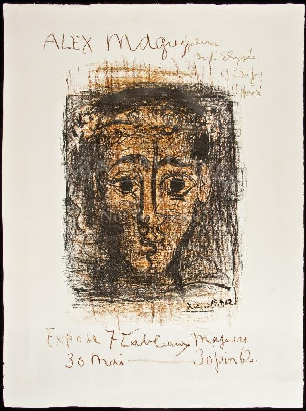93: lithograph Picasso exhibit poster 1962