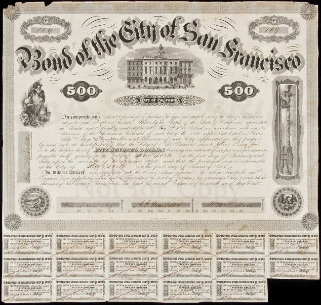 30: Bond for money loaned to San Francisco 1855