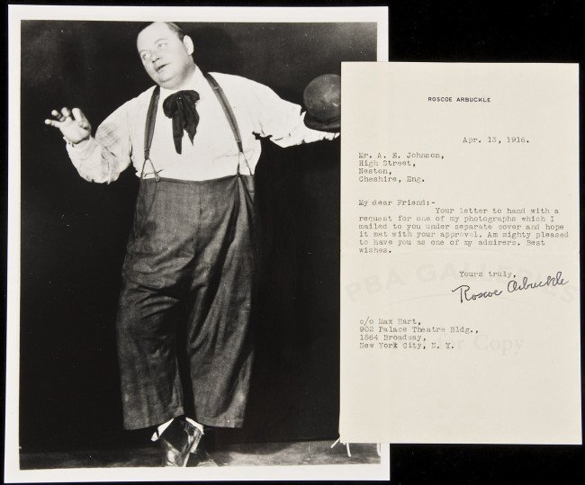 5: Fatty Arbuckle Typed Letter Signed w/photograph