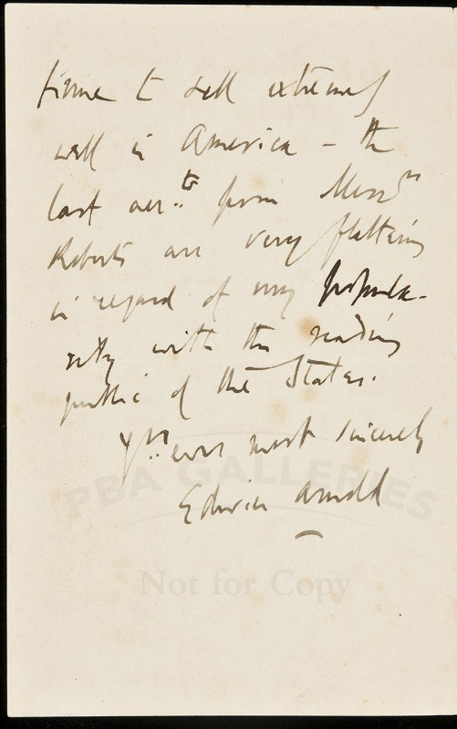 7: Edwin Arnold Autograph Letter Signed