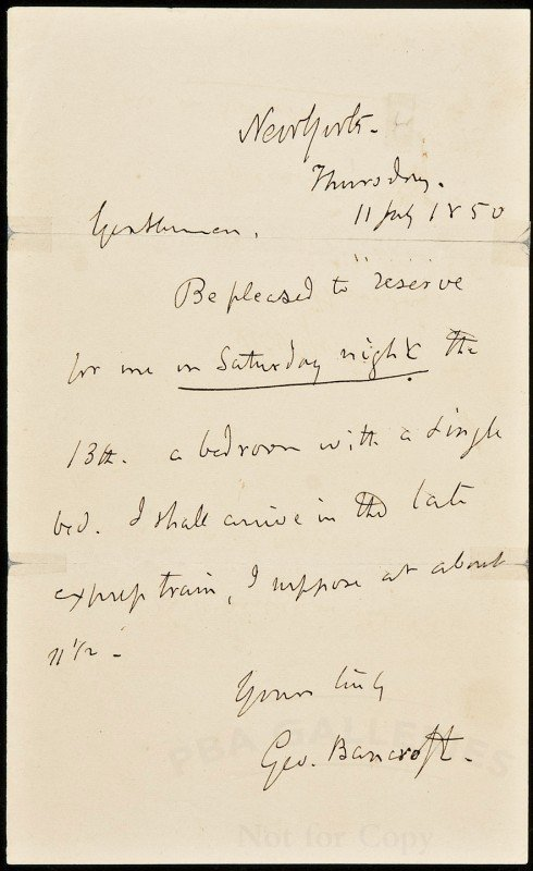 15: George Bancroft Authograph Letter Signed