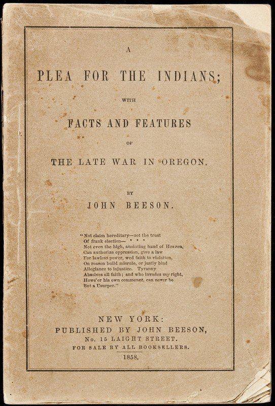 11: John Beeson Plea for the Indians 1858 Edition