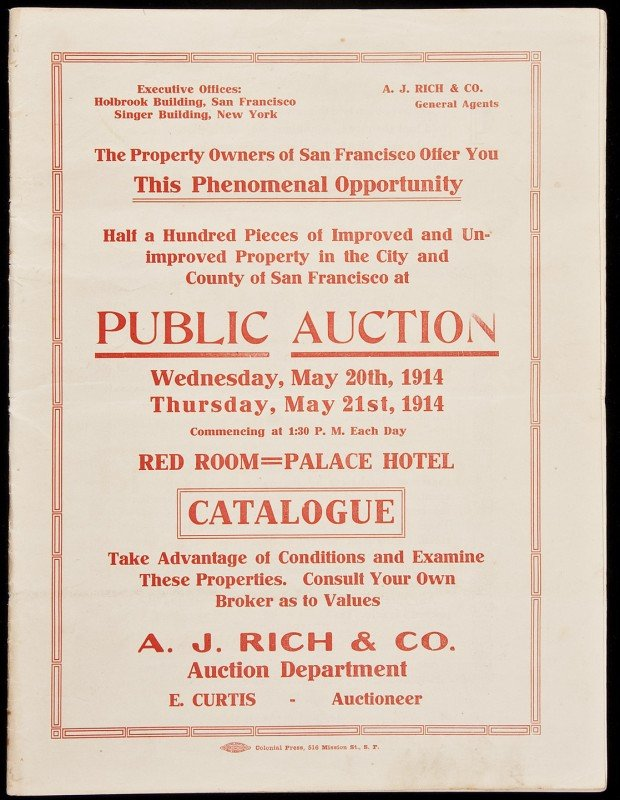 16: Auction catalog for San Francisco land 1914