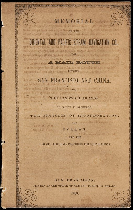 20: Mail Route from San Francisco to China 1853