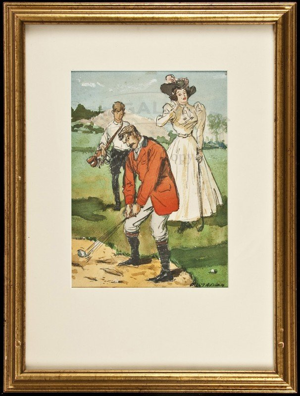 9: watercolor of golfer, lady and caddie