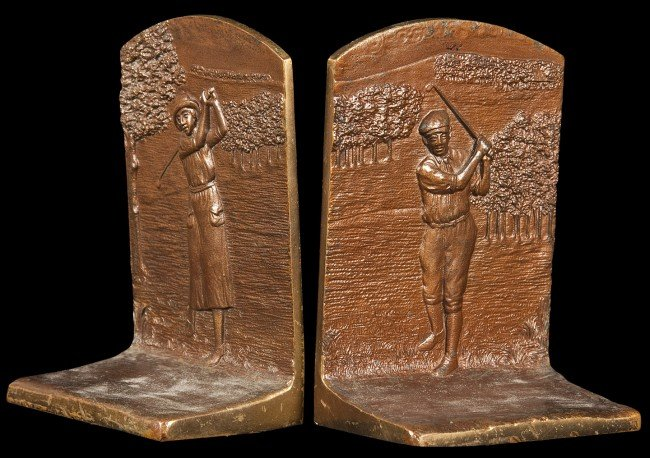 23: Pair of bronze bookends coed golfers c.1925