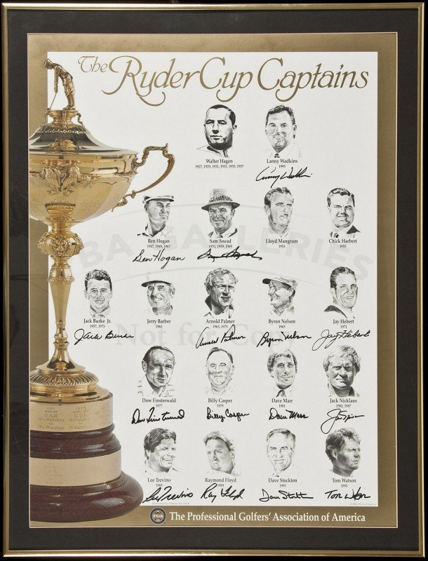 357: Ryder Cup poster signed by American captains