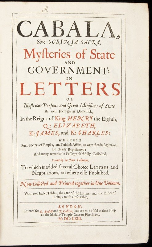 12: Cabala, Mysteries of State and Government 1663