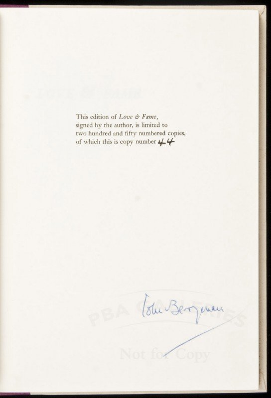 3: Love & Fame signed limited by John Berryman