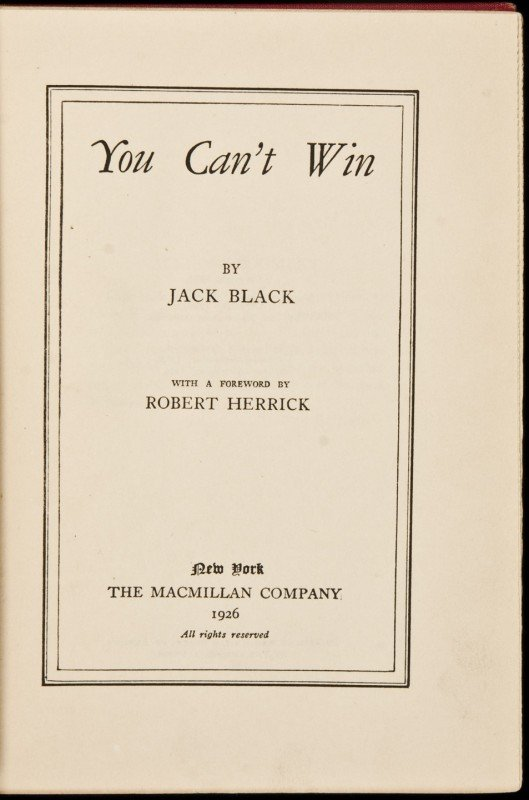 5: You Can't Win by Jack Black 2nd printing 1927