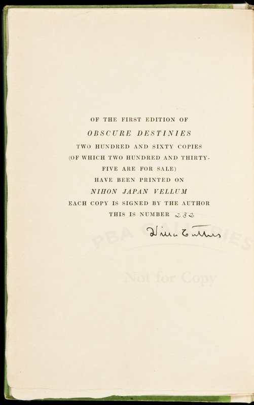15: Obscure Destinies signed limited by Willa Cather