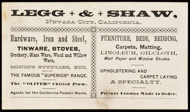 22: Trade card for Legg & Shaw, Nevada City, Cal.