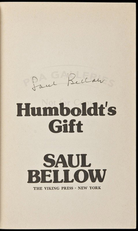 19: Humboldt's Gift advance reading copy, signed