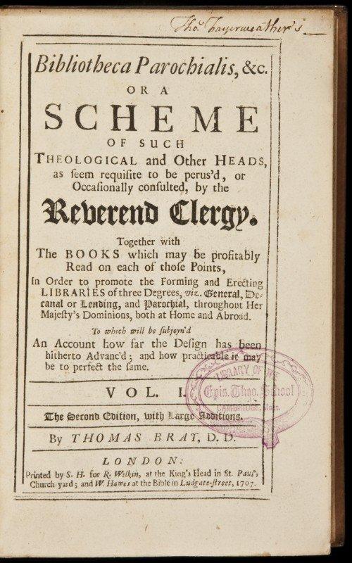 9: Thomas Bray Bibliotheca Parochialis 1717