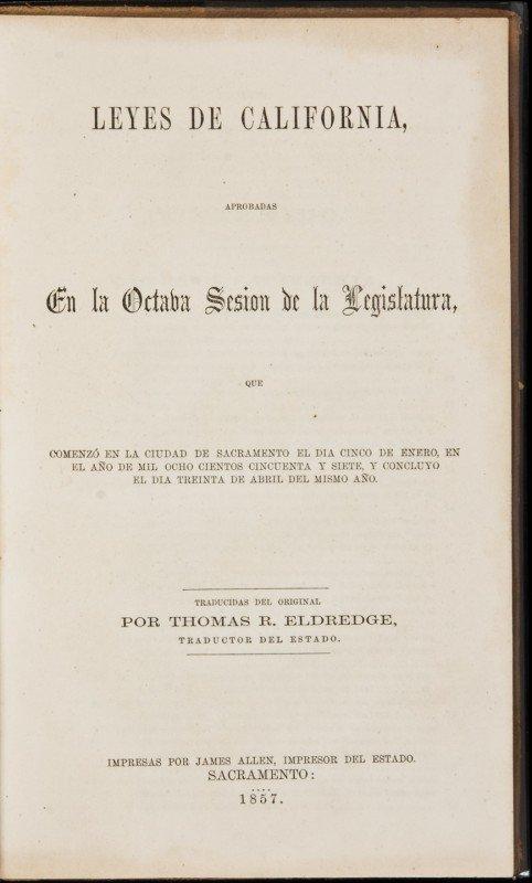 11: Laws of California in Spanish 1857