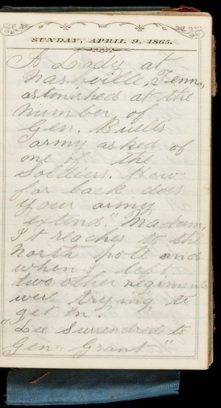 22: Civil War diary kept by Charles Tuthill in 1865