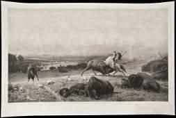 254: Last of the Buffalo - photogravure by A Bierstadt