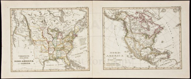 342: Two maps from Stieler's Schul-Atlas c.1840