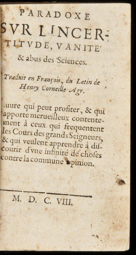1: Paradoxe sur l'incertitude by Agrippa 1608