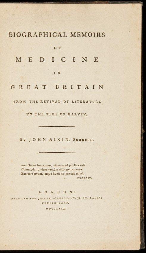 2: Medicine in Great Britain, John Aikin 1780