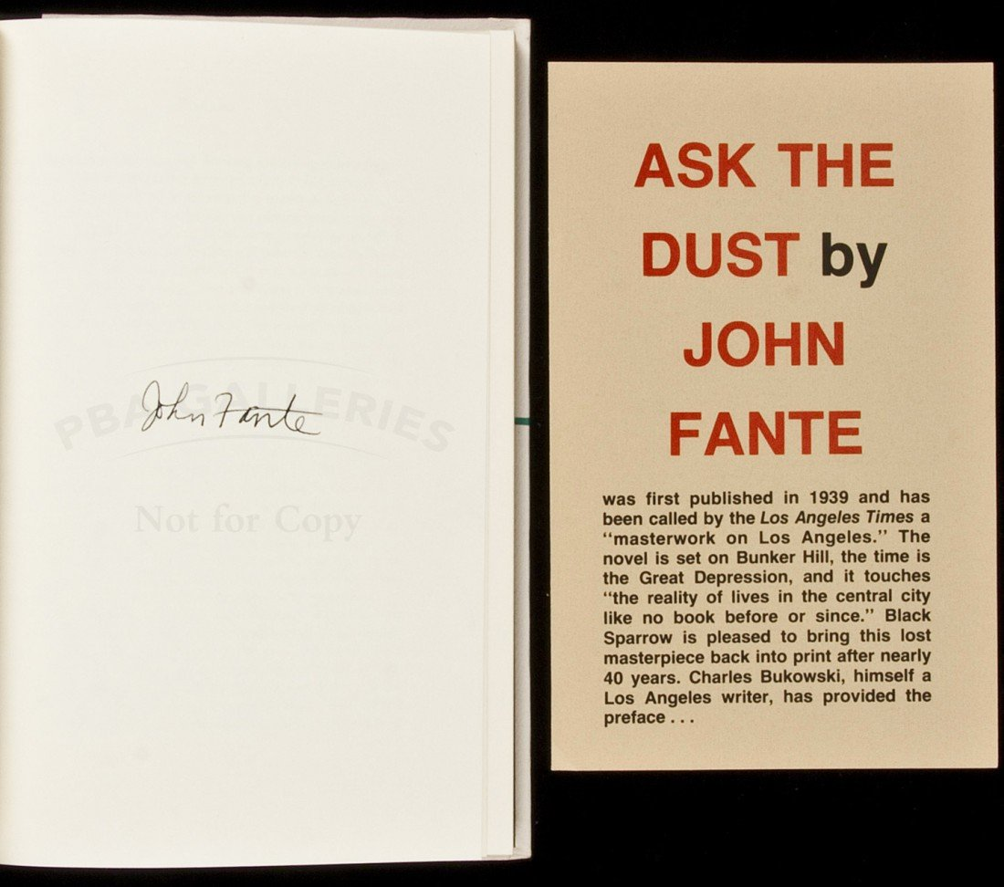 328: Ask the Dust signed by John Fante 1/250 copies